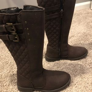 Little girls quilted riding boots, sz 12